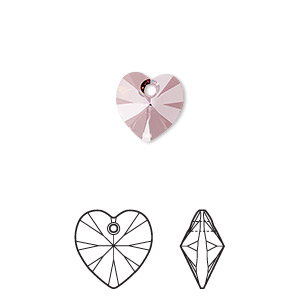 Swarovski 10mm Xilion heart (6228), Antique pink, 1st