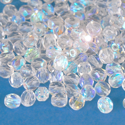 Czech Fire Polished faceted beads, 4mm round, Crystal AB, 100pcs