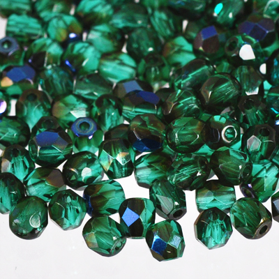 Tjeckiska Fire Polished facetterade pärlor, 4mm rund, Emerald - Blue Iris, 100st