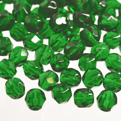 Tjeckiska Fire Polished facetterade pärlor, 6mm rund, Green Emerald, 50st
