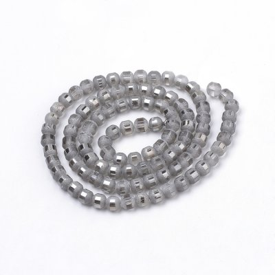 Matte/glossy glass beads, 6mm round, grey, 1 strand