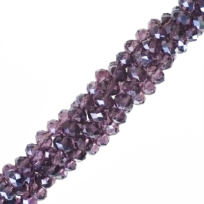 Faceted glass rondelle bead, 4x6mm, amethyst purple, approx 95pcs