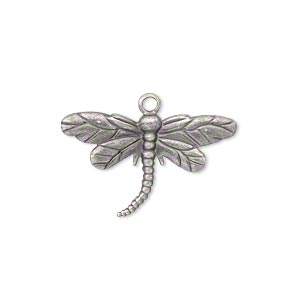 Charm, antiqued silverplated, 26x19mm single-sided dragonfly, 2pcs