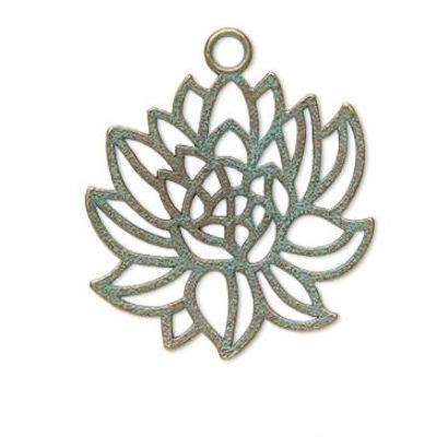 focal,charm,lotus,antique,copper