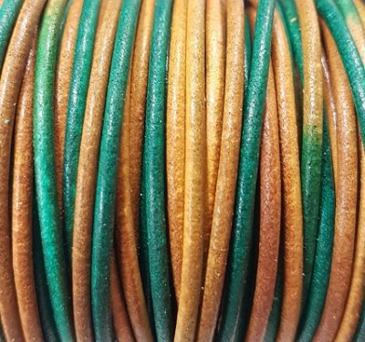 Genuine leather cord, 2mm, multi-coloured, priced per 1m