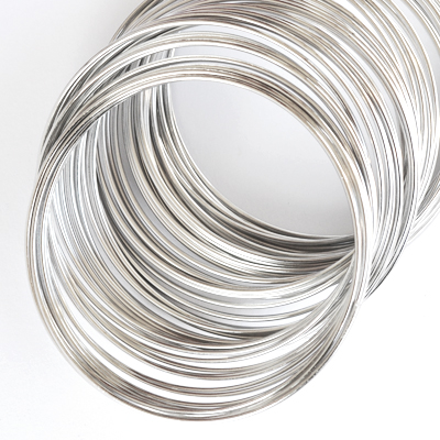 Memory wire for bracelets, 6.0cm, platinum-coloured, 10 loops