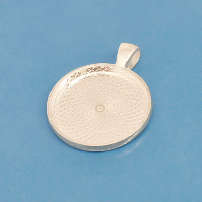 Frame pendant, 2mm deep, 25mm round setting, heavy silver-plated, 1pc or BIGPACK