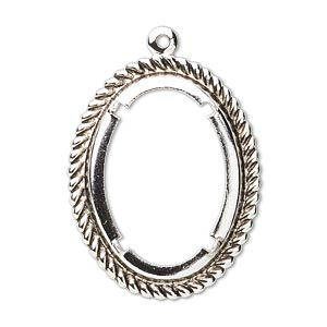 Pendant setting, silver-plated, 25x18mm oval cabochon setting, Sold per pkg of 1.