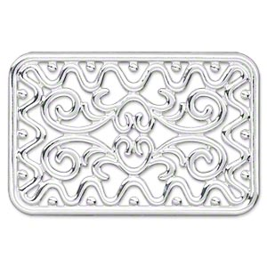 Focal, silver-plated steel, 49x32mm single-sided fancy rectangle. 1pcs.