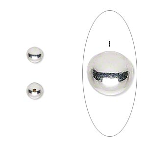Bead end, silver-plated,5mm half-drilled round,memory wire