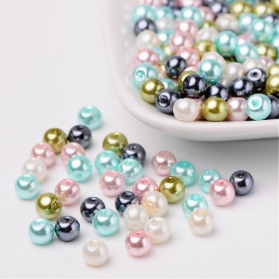 Bead mix - Pastel, Mix Pearlized Glass Beads, 6mm, 50g - about 190-200pcs