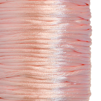 Satin cord, rattail, 2mm, light pink, 5m