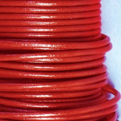 Leather cord, red, 2.0mm, sold per meter.