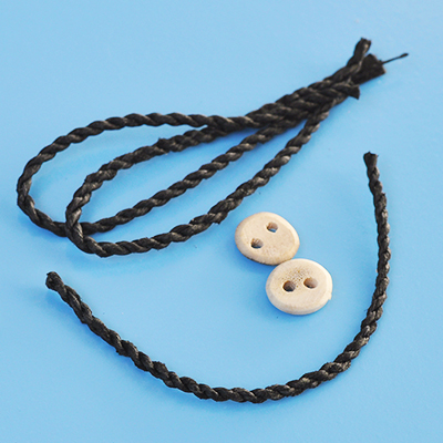 Braided leather cord for bracelets with button closure, 5cm, 1pc