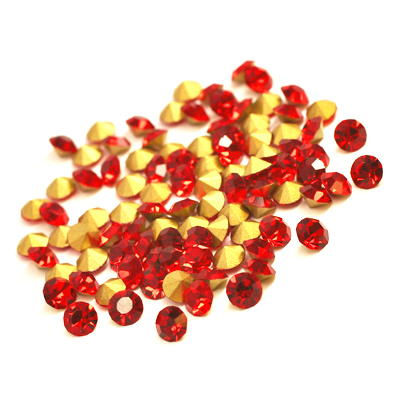 Glass rhinestone, 3mm, chaton, red, 2g- approx. 90-110pcs