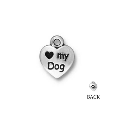 TierraCast berlock, Love my dog, 12x10x2mm, antikt silverpläterad, 1st