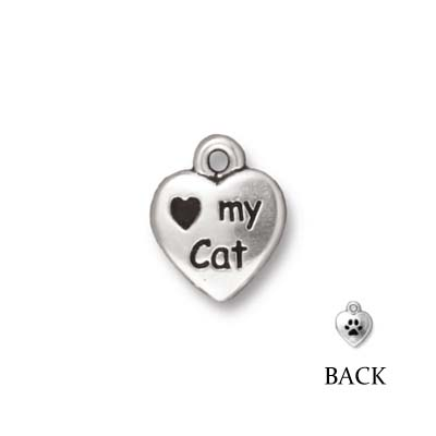 TierraCast berlock - Love my cat, 12x10x2mm, antikt silverpläterad, 1st