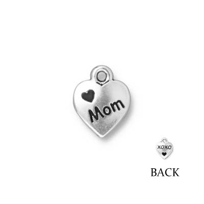 TierraCast berlock - Love Mom, 13x10x2mm, antikt silverpläterad, 1st