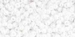 TOHO seed beads, storlek 11/0 (2.2mm), Opaque-Lustered White, 10g