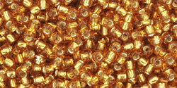 TOHO seed beads, storlek 11/0 (2.2mm), Silver-Lined Topaz, 10g