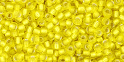 TOHO seed beads, storlek 11/0 (2.2mm), Silver-Lined Lemon, 10g
