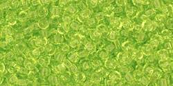 TOHO seed beads, storlek 11/0 (2.2mm), Transparent Lime Green, 10g