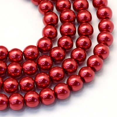 glass,pearl,red,8mm